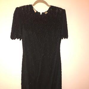 Beaded black evening dress 1980s